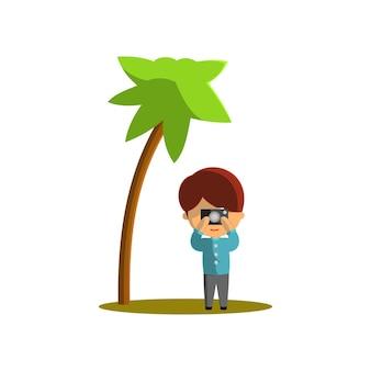 Мальчик путешествует, фотографируя. персонаж векторные иллюстрации на тему мирового туризма