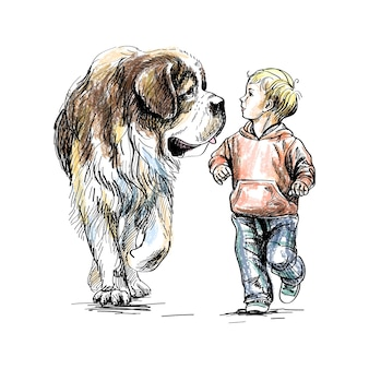 The boy is walking with a big dog on a white background.  illustration