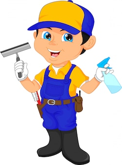Boy janitor in a blue suit holding cleaning tools