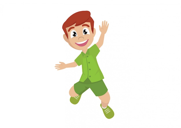 Boy jumping from happiness.