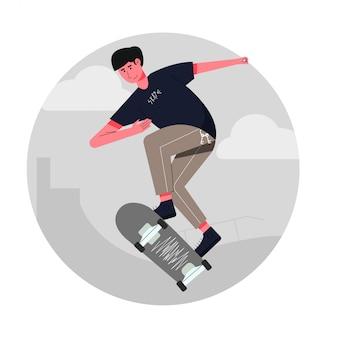 スケートボードの概念にジャンプ少年