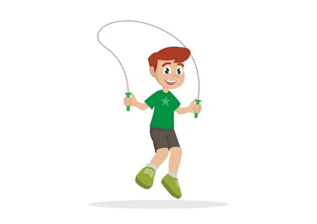 Boy jumping rope.