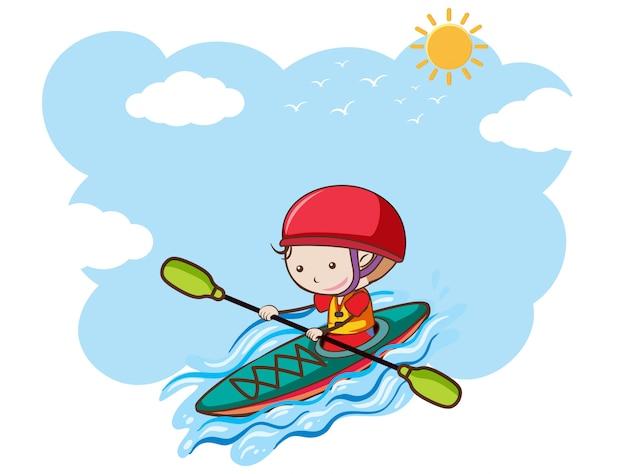 A boy kayaking on sunny day