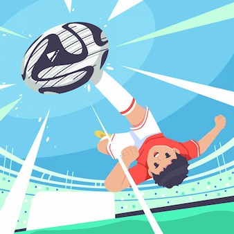 Boy kicking ball illustration background