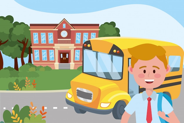 Boy kid and bus school