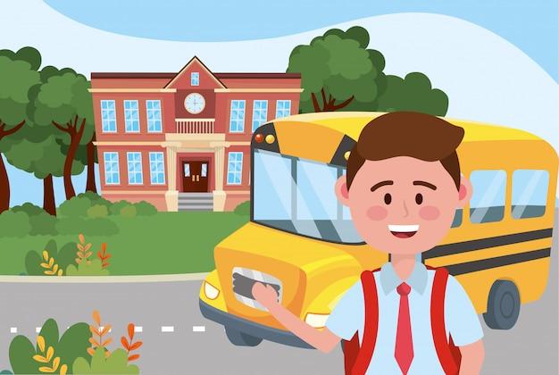 Boy kid and bus school