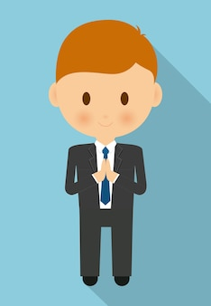 Boy kid cartoon black suit icon