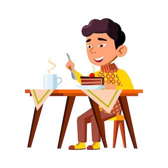 Boy kid eating delicious cake breakfast vector. happy chinese infant eat sweet cake piece dessert and drinking hot tea. character child enjoying tasty food and drink flat cartoon illustration