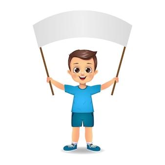 Boy kid holding blank flag