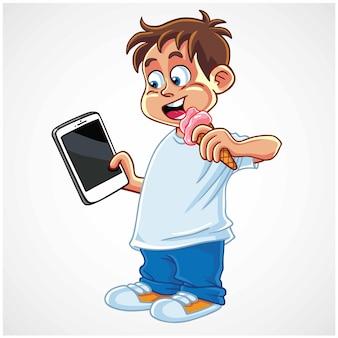 아이스크림 만화 벡터 일러스트 레이 션을 먹는 태블릿 스마트 폰 가제트를 재생 하는 소년 아이