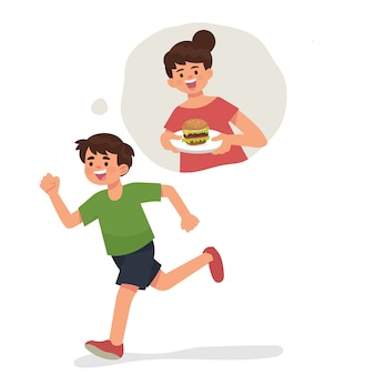 Boy kid running remember his mother cook