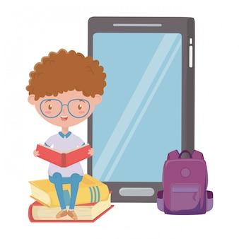 Boy kid of school and smartphone design