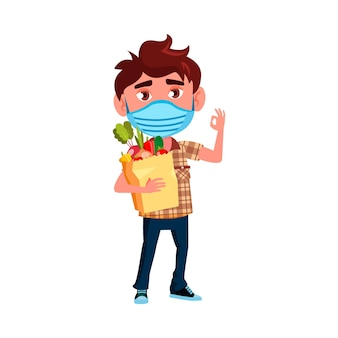 Boy kid with facial mask holding food bag vector. caucasian preteen schoolboy wearing protective medicine mask grocery shopping and gesturing ok. character flat cartoon illustration
