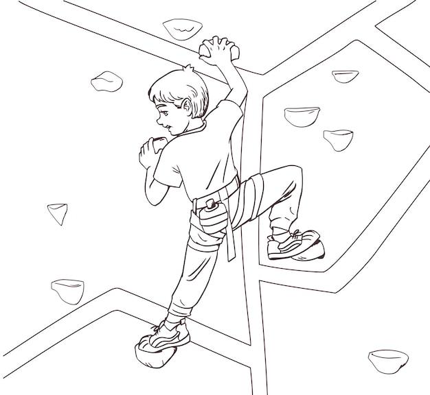 Мальчик дети альпинист поднимается на гору. книжка-раскраска антистрессовый дизайн для детей и взрослых. иллюстрация, изолированные на белом фоне. детский спорт в помещении
