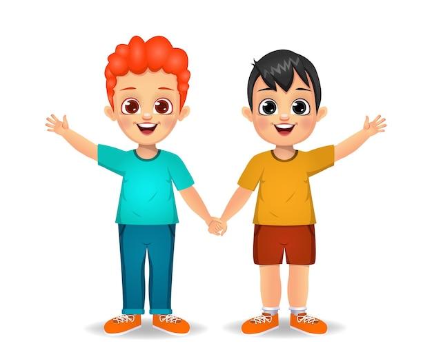 Boy kids holding hands together