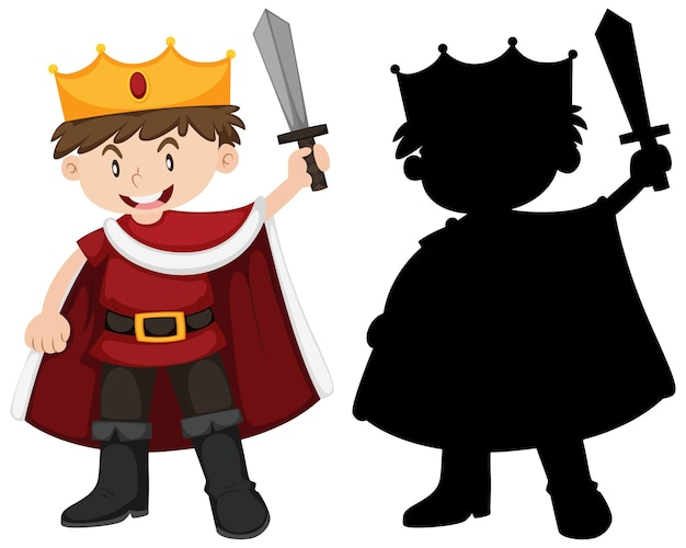 Boy in knight costume with its silhouette