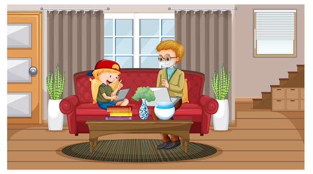 Boy learning from home on electronic device