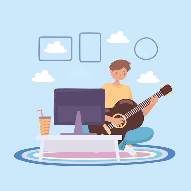 Мальчик учится на гитаре онлайн