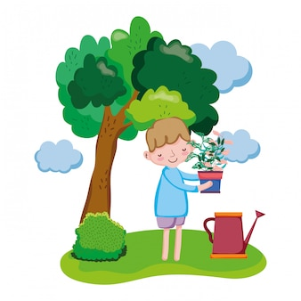 Boy lifting houseplant with sprinkler in the landscape