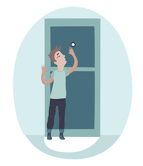Boy looking on peephole and opening the door to a one scary guest.