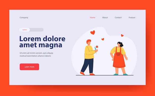 Boy in love giving flower to girl landing page in flat style