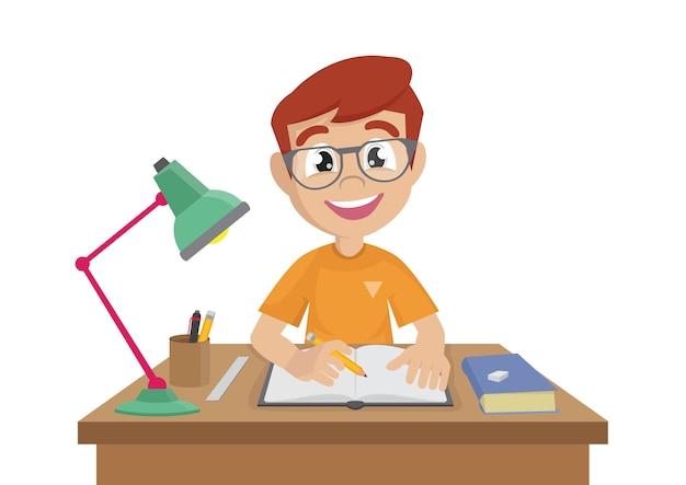 Boy makes a homework.