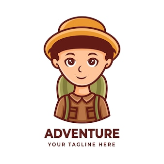 The boy mascot character design for adventure or hiking logos