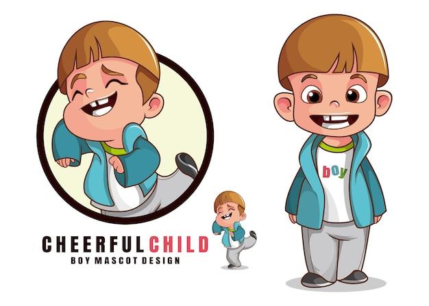 Мальчик талисман дизайн мультипликационный персонаж