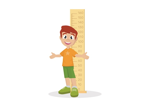 Boy measuring height.