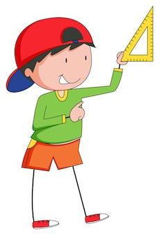 Ragazzo che misura con il righello triangolare