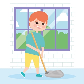 Boy mopping the hallway illustration