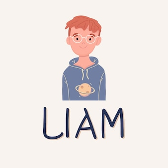 A boy named liam with glasses. middle school student. vector illustration