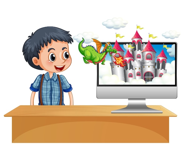 Мальчик рядом с компьютером с фоном экрана рабочего стола замка