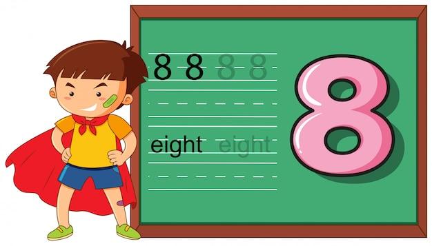 Boy on number eight worksheet