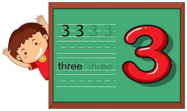 Boy on number three worksheet