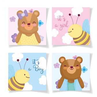 男の子か女の子、性別はかわいい動物カードの招待を明らかにします