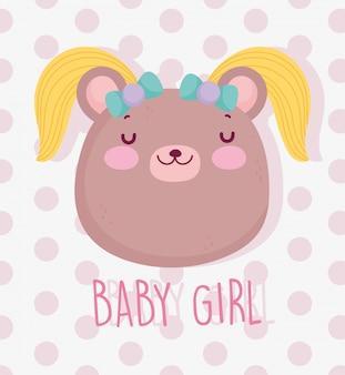 男の子か女の子、性別は女の子のかわいいクマの髪のカードを明らかにします。