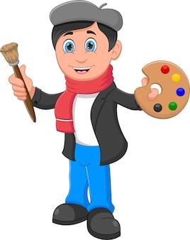 Boy painter cartoon isolated on white background
