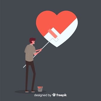 Boy painting heart background