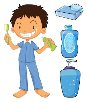 Boy in pajamas brushing teeth illustration