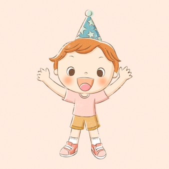 Boy in party hat and waving his hand in hand drawn line style