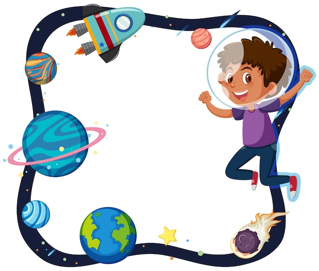 A boy and planet border
