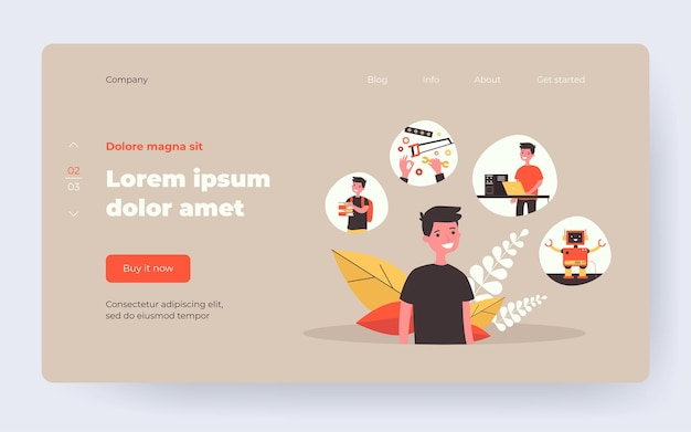 Boy planning steps of robot creation. studying, using tools, programming, cheerful humanoid flat vector illustration. robotics, childhood concept for banner, website design or landing web page