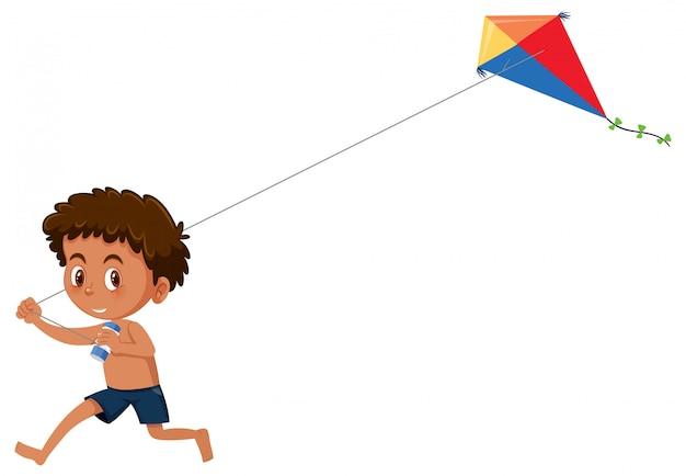Boy play kite on white background