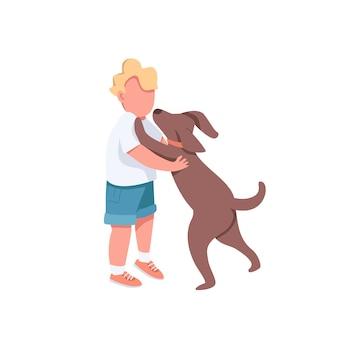 개 평면 색상 익명의 문자로 소년 놀이. 작은 아이는 귀여운 강아지를 안고 싶어합니다. 강아지를 안아주세요. 웹 그래픽 디자인 및 애니메이션에 대한 행복한 어린 시절 격리 된 만화 그림