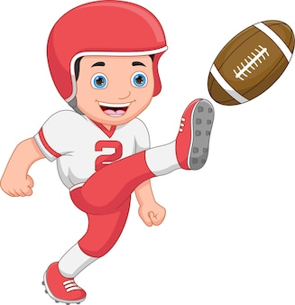 Boy playing american football on white background