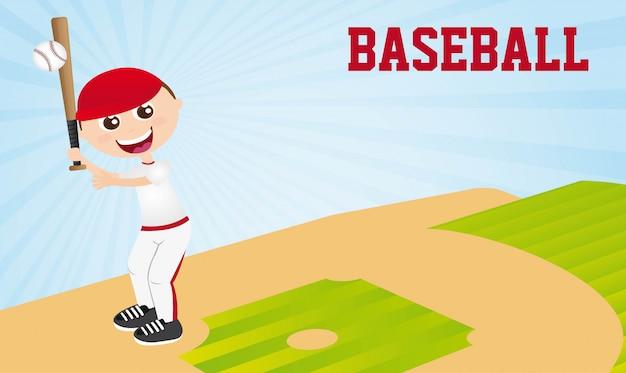 Boy playing baseball over baseball stadium vector illustration