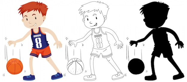 Boy playing basketball in color and outline and silhouette