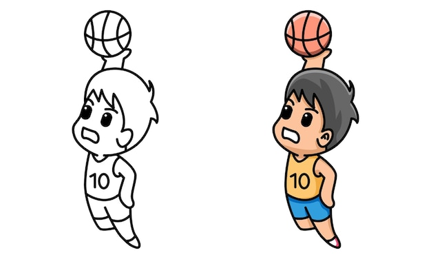 Boy playing basketball coloring page for kids