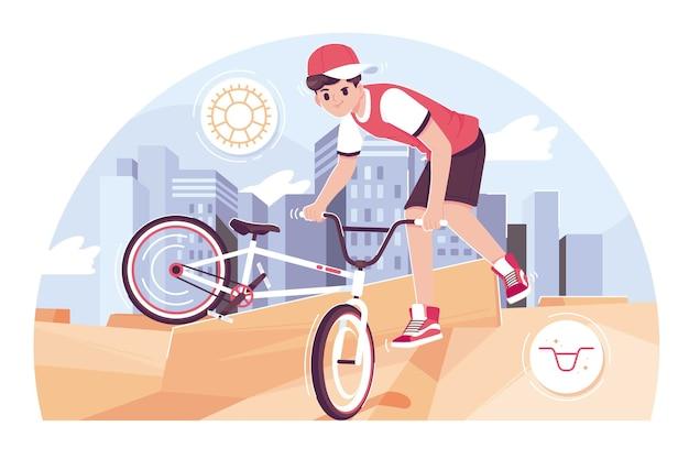 自転車イラスト背景をしている少年